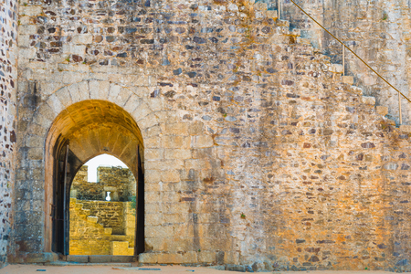 door of entrance to the castle and stairs Stock Photo