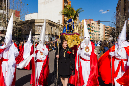 Badajoz Spain sunday. march .27. 2018. Procession of Nazarenes. Easter in the city of Badajoz Extremadura Spain