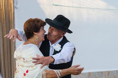 Santiago de Alcantara, SPAIN - 18 AUGUST 2018:Once a year the traditional festival La Frenda is celebrated in the town of Santiago de Alcantara, Caceres.