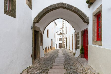 Street in traditional medieval village Marvao Portugal Stock Photo