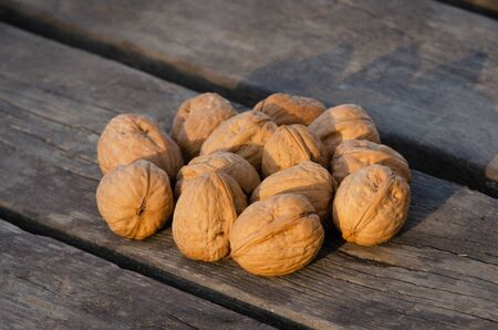 Delicious walnuts on wood table