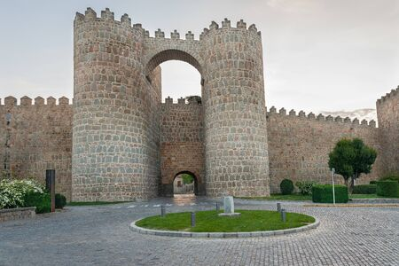 Gate of the Alcazar in the city walls of Avila, Spain