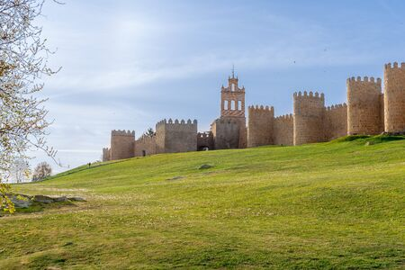 Ancient city walls in the old city of Avila, Spain