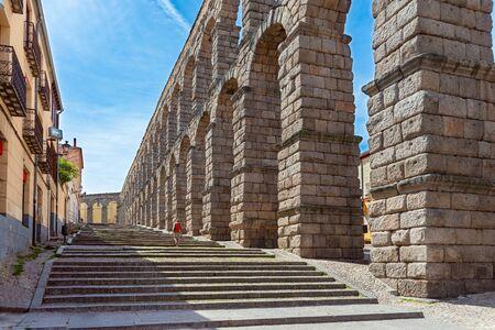 ancient aqueduct in Segovia, Castilla y Leon, Spain Stock Photo