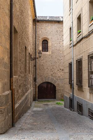 beautiful old street in Segovia, Castilla y Leon, Spain