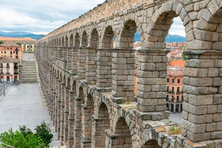 ancient aqueduct in Segovia, Castilla y Leon, Spain 스톡 콘텐츠