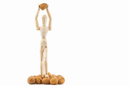 articulated dummy with  nuts in white background