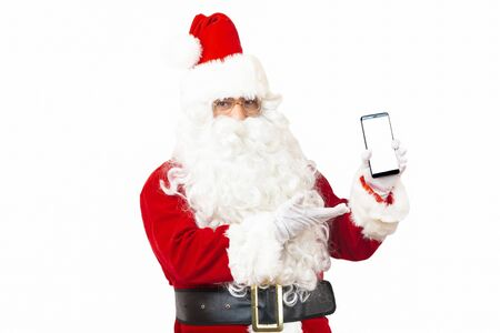 Santa Claus holding using mobile smartphone  on white background