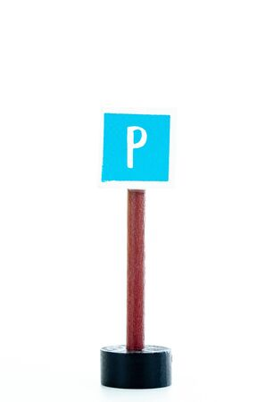 parking traffic sign isolated on white background with copy space for text Stockfoto
