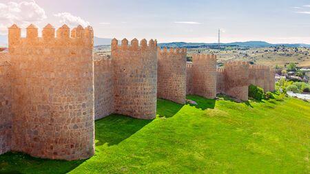 Walls of Avila, Castilla y Leon, Spain . Fortified building.