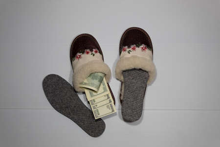 Fur winter slippers are standing on a white background. In one sneaker there is a replaceable insole, and in the other money is instead of the insole. Stock Photo