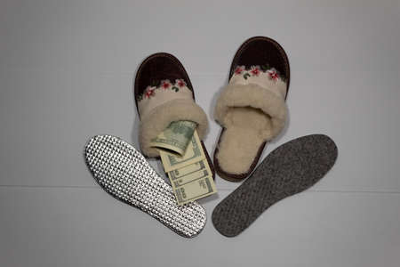 Fur winter slippers are standing on a white background. Nearby are two insoles. Instead of an insole, money is in one slipper.