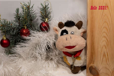 """A toy bull with a key around its neck peeps out from behind a wooden door. Nearby lies white tinsel, spruce branches with red balls. At the top there is an inscription: """"Hello 2021!"""""""