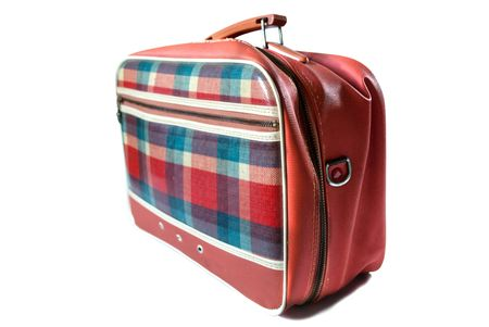 roomy: Old but fashionable plaid handbag, ladies accessories, retro, isolated