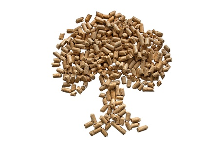 Pressed pellets in the form of a tree, isolated on white. Stock Photo