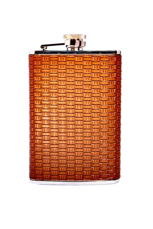 Personal flask in a leather decoration, isolated on white. Stock Photo - 9465420