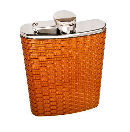 Personal flask in a leather decoration, isolated on white. Stock Photo - 9465418