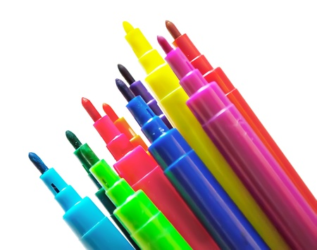 Fragment of colorful markers set, isolated on white.