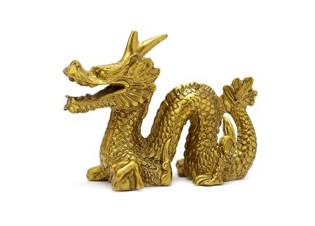 Decorative figurine golden dragon, a symbol of the year 2012, isolated on white. Stock Photo - 9627284