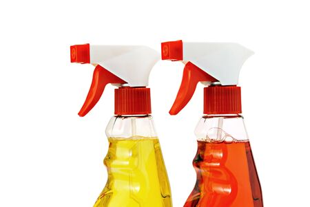 Two bottles of cleaning fluid with sprays, isolated on white. Stock Photo - 9675546