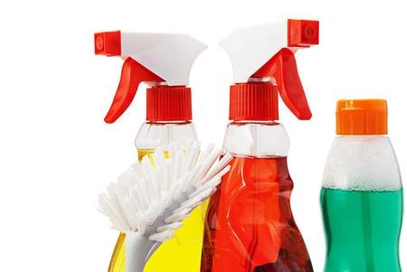 Three bottles of cleaning fluid  and fetlock, isolated on white. Stock Photo - 9675549