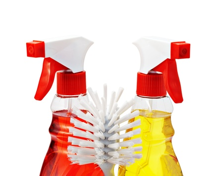 Two bottles of cleaning fluid with sprays and fetlock, isolated on white. Stock Photo - 9675547