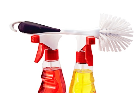 Two bottles of cleaning fluid with sprays and fetlock, isolated on white. Stock Photo - 9675545