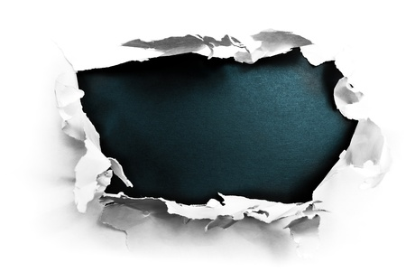 Breakthrough paper hole with black textured background. Stock Photo - 9871378