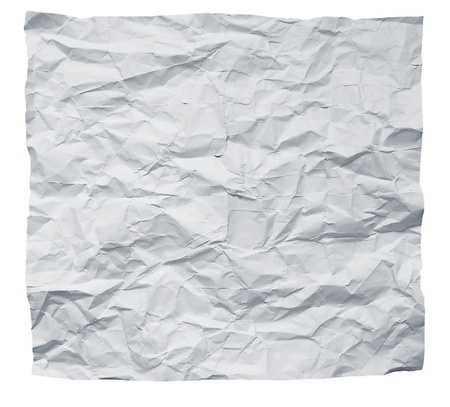 Big square crumpled paper on a white background. photo
