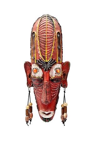 artifact: Decorative souvenir wooden mask,  isolated on white. Stock Photo
