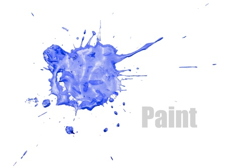 Single blue blot of paint with splashes, isolated on white. Foto de archivo