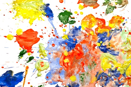 splatter paint: Multi-colored paint smeared randomly on a white background.