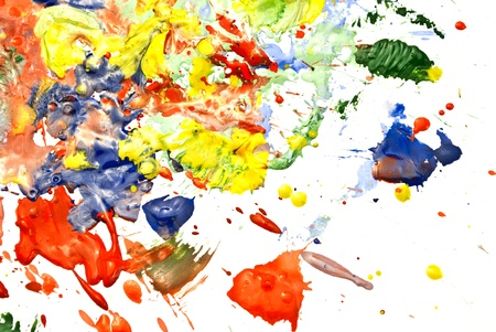 Multi-colored paint smeared randomly on a white background. Stock Photo - 10184630