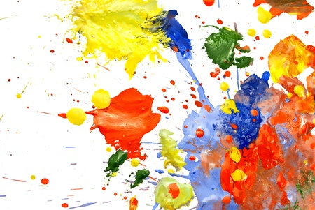 CUADROS ABSTRACTOS: Multi-coloreado al azar pintura untada sobre un fondo blanco.