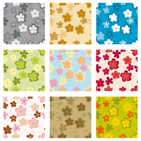 Set of seamless background. Bright flowers on a colored background