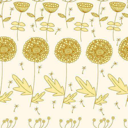 golden field: Seamless background. Golden field of dandelions