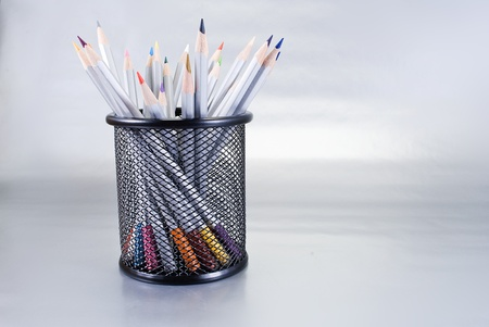 Set of art tools on a chrome background. Stock Photo - 10468250