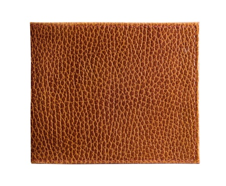 Rectangular piece of brown textured leather, isolated on white. Stock Photo - 11059127