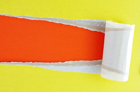 Yellow torn paper with orange background. Stock Photo - 11277443