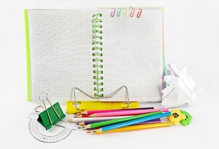 Stationery background with simple little tools. photo