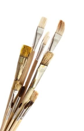 Set of different sizes paintbrushes, isolated on white.