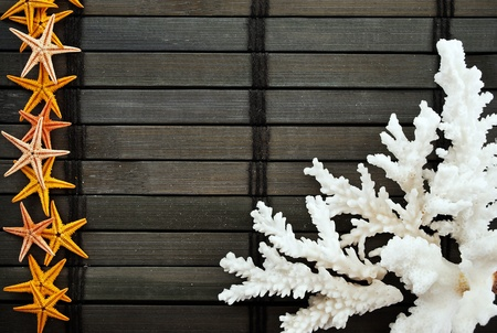 Marine themed background of few coral branches and seastars on a wooden mat. photo