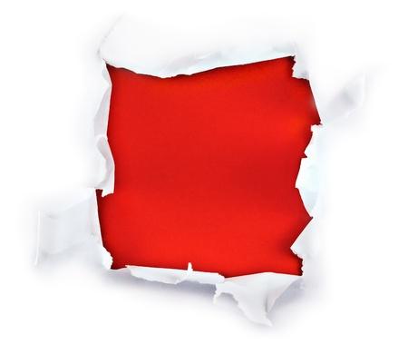 forme carre: Trou carr� de papier forme perc�e avec fond rouge. Banque d'images