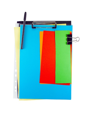 Office clipboard with colorful paper sheets, clip and pen. photo