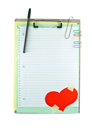 Office clipboard with colorful paper hearts, clips and notebook sheet in line. photo