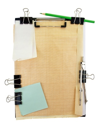 engineering clipboard: Office clipboard with engineering tools and items . Stock Photo