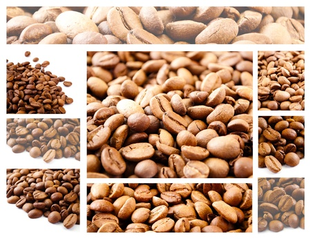 Large collage of coffee beans theme. photo