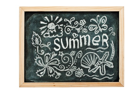 Summer concept art on a blackboard, isolated on white. photo