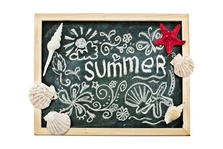 Summer hand-drawn image and few seashells on a blackboard, isolated on white. photo