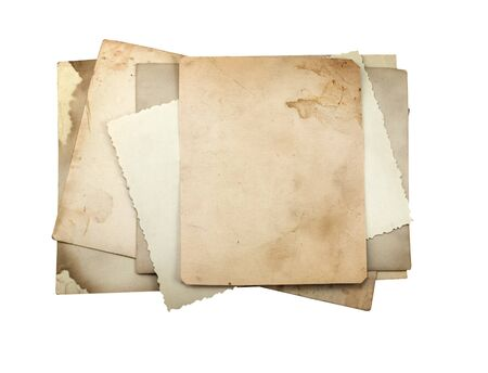 Stack of old photo paper, isolated on white. photo